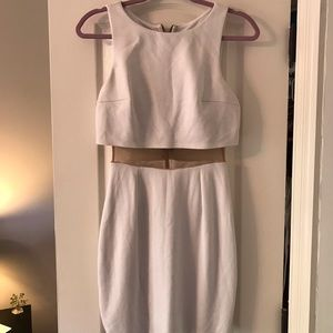 WHITE TWO PIECE ILLUSION DRESS
